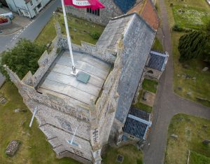Church roof from drone.